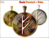 Fehu Rune Necklace, Pendant, Jewelry. Available in three different styles. (Wealth, luck, personal power, financial strength, prosperity)