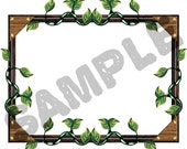 A4 Sheet of 8 Stickers - Rustic leafy frame. Ideal for book plates, decoupage, bullet journaling etc.