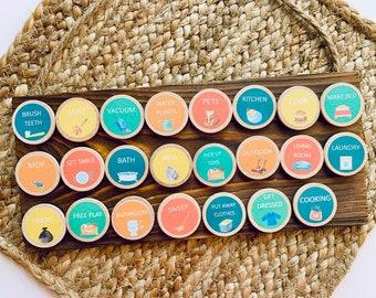 Custom Chore Magnets, Chore tokens, Round chore magnets, Montessori, Daily Rhythm Chart, Chore Chart, Chores, Visual calendar, Chore Coins