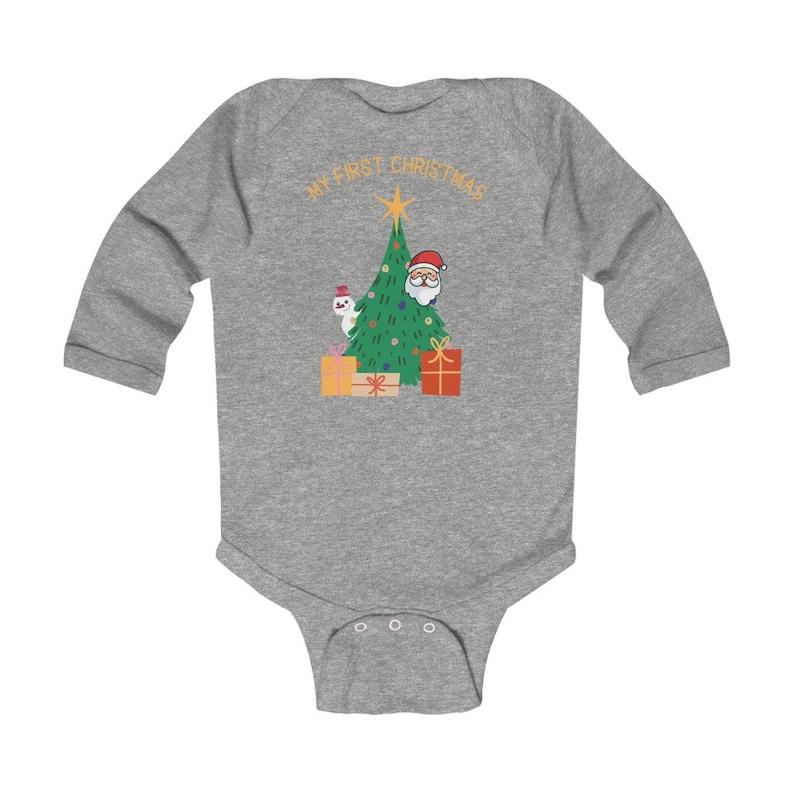 My First Christmas Bodysuit 1st Christmas Baby Romper-Newborn-1st Christmas Outfit Christmas Tree-Santa Father Christmas-Infant Bodysuit