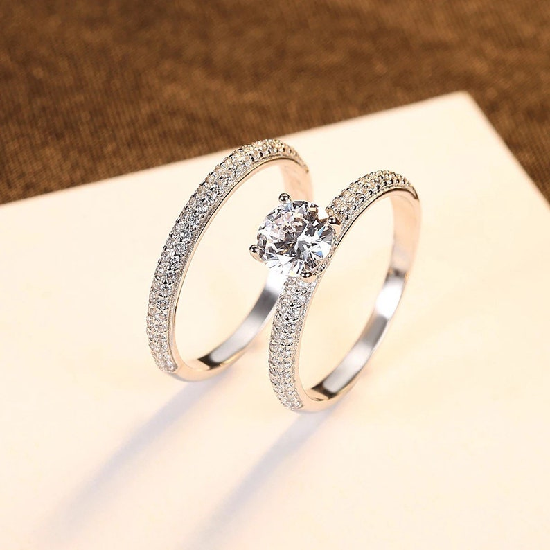Engagement Ring Set Girlfriend Wife Anniversary Gift Eternity Ring Valentines Gift Birthday Gift
