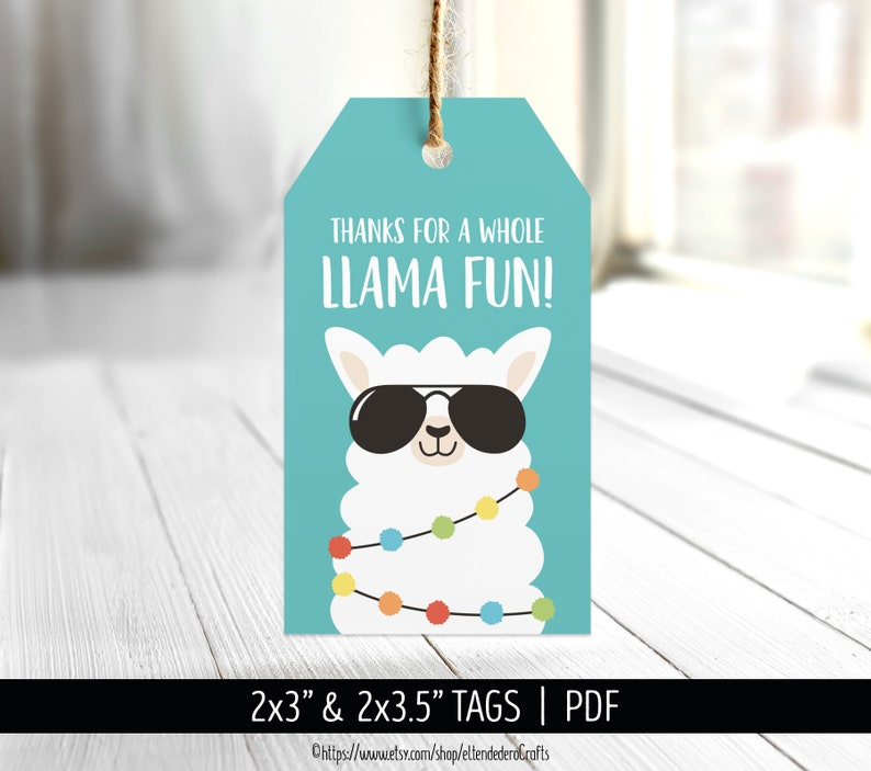 Printable Funny Thanks Cards Digital Treat Gift Decor Girl Baby Shower Bag Labels Sticker Birthday Party Favor Tags Llama Thank You Tags