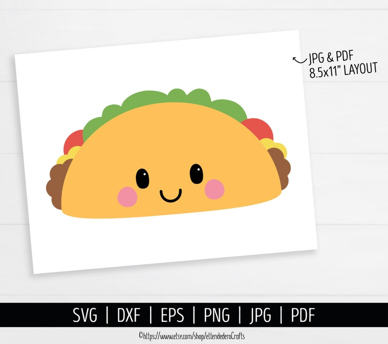 Taco SVG dxf eps Mexican Food SVG Cute Face Shirt Vector Cutting Machine Kawaii Taco with Mustache PNG Clipart Cinco de Mayo Cut Files