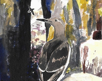 Guillemot & Sea Arch greetings card. A6. Blank inside. Scotland. Islands. landscape painting. 100% recycled card. Isle of May.