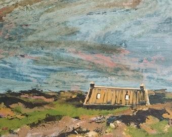 Coastal Croft greetings card. A6. Blank inside. Scotland. Islands. Sea. landscape painting. 100% recycled card. Rackwick Bay. Hoy. Orkney.