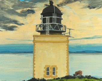 Scottish Lighthouse greetings card. Square 12x12cm. Blank inside. Scotland. Scottish islands. Painting. 100% recycled card. Holy Isle, Arran