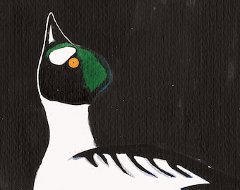 Goldeneye Duck greetings card. Square 12x12cm. Blank inside. Bird Scotland. landscape painting. 100% recycled card.