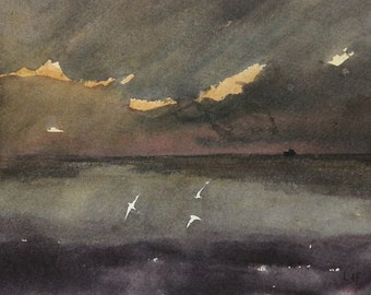 Storm Gannets greetings card. A6. Blank inside. Scotland. Atmospheric. Sea. Plein-air landscape painting.100% recycled card. Isle of May.