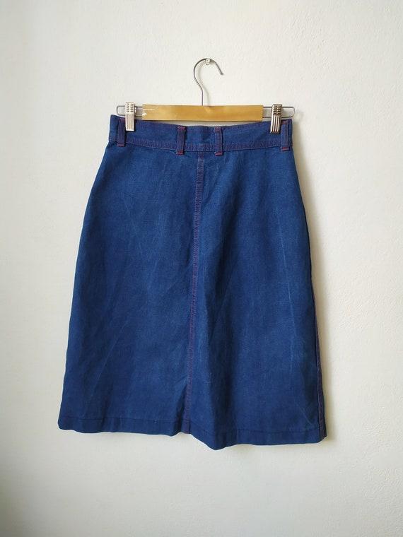 Vintage 1970s jeans skirt, A-line, high waist, bu… - image 2
