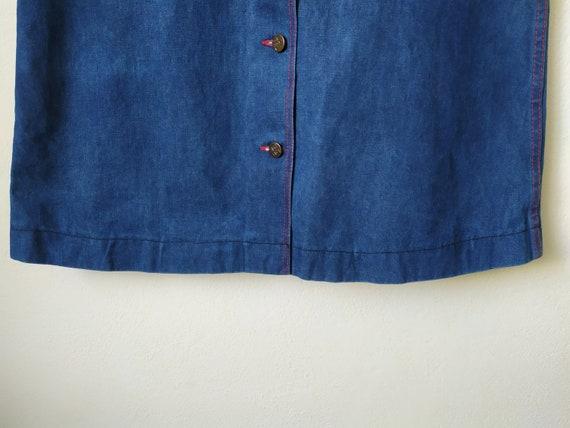 Vintage 1970s jeans skirt, A-line, high waist, bu… - image 3