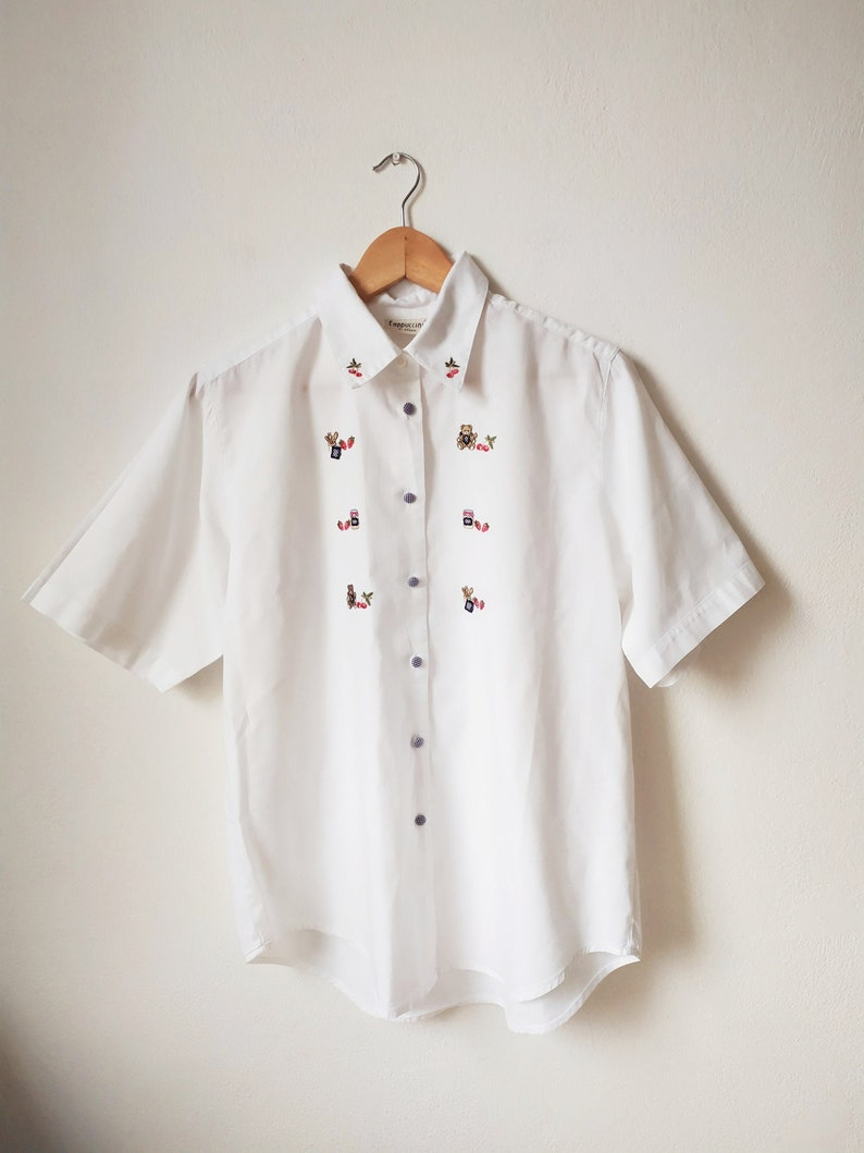 short sleeve 1990s2000s cotton blouse with embroidered cherries and teddy bears universal size White vintage shirt with embroidery
