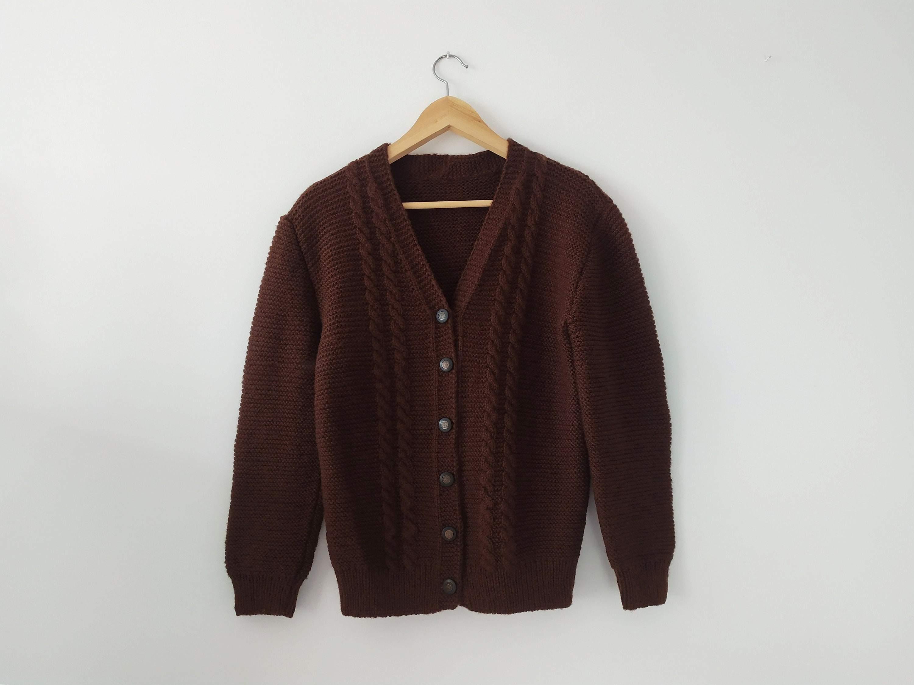 80s Sweatshirts, Sweaters, Vests | Women Vintage Dark Chocolate Brown Handmade Cardigan, 1980S, Chunky, Button Front, Cable Knit Pattern Sweater, SM $54.23 AT vintagedancer.com