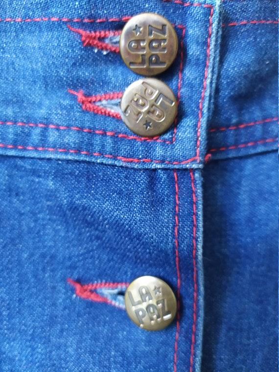Vintage 1970s jeans skirt, A-line, high waist, bu… - image 9