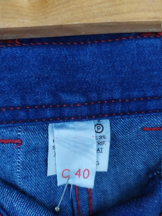 Vintage 1970s jeans skirt, A-line, high waist, bu… - image 4