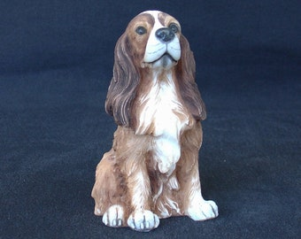 Coker Spaniel Dog Figurine Handmade and Hand Painted Alabaster Statue 10cm 3.93inches