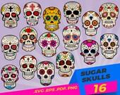 Sugar skull svg,Flower Skull svg, Skull cut file, Floral Skull clip art, Sugar Skull Svg file, skull vector, halloween, gothic, skeleton,svg
