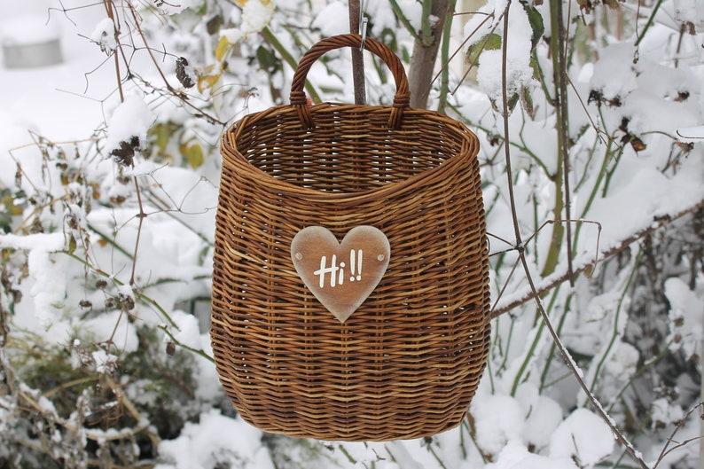 hanging basket. wall basket for flowers rustic style front door decor Wicker basket with handle storage basket door basket