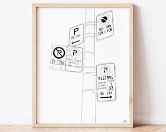 Montreal Street Sign, Line Art, Minimalist Print, Black and White Poster