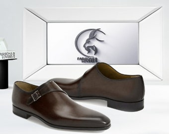 Handmade Dark Tan Colour Pure Leather Single Monk Strap Dress Formal Luxury Shoes For Men's