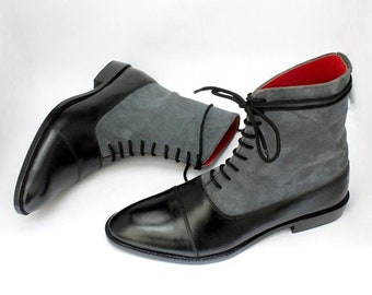 Handmade Black Grey Colour Leather & Suede Ankle High Cap Toe Lace Up Dress boots For Men's