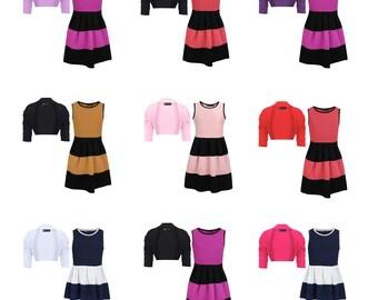 Girls Belted Lace Hem Dress Bundle with Ruched Sleeve Bolero