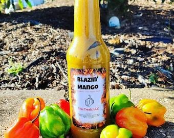 Trinidadian Blazin' Mango Pepper Sauce/ Hot Sauce/ Trini Pepper Sauce/ Mango Hot Sauce/ Scorpion Pepper Sauce/ Mango Habanero