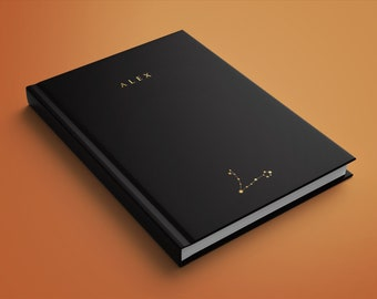 Custom black daily planner with your zodiac and 2022-23 calendar! Agenda, open dated journal. Gift for friend, 148 pages. High quality print