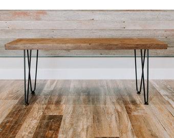 Entryway Bench | Hairpin Leg Bench | Farmhouse Bench | Rustic Bench | Mid-Century Modern Bench| Hairpin Legs|