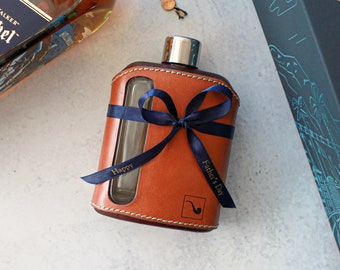 240 mL Genuine Leather Wrapped Glass Flask, Fathers Day Gift, Gift for Him, Gift for Husband, Groomsman Gift, Gift for Dad