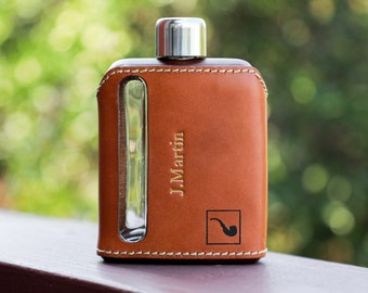 Personalized Leather Flasks, Groomsman Gift, Stocking Stuffer, Gift for Him, Custom Flask, Leather Flasks, Gift For Wedding Party