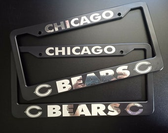 ,Decorative Car Front and Rear Home Bathroom ZZE6RT Chicago Bears License Plate Frame Aluminum Novelty Car Tag 2 Pack 2 Holes