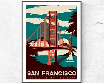 Restored Vintage San Francisco Poster / Print / USA Travel Print / Fashion Print / Vintage Wall Art / Retro Poster / Golden Gate Bridge