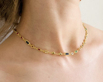 24K GOLD CHARM NECKLACE • Rainbow Charm Necklace • Trendy 24K Gold Necklace • gold filled dainty necklace • minimalist jewelry for her