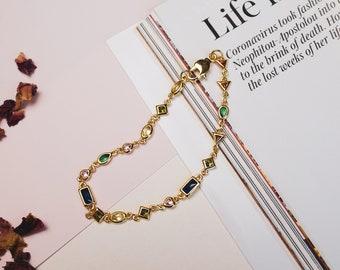 24K GOLD CHARM BRACELET • Rainbow Charm Bracelet • Trendy 24K Gold Bracelet • gold filled dainty bracelet • minimalist jewelry for her