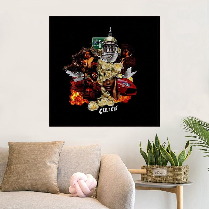 Migos Culture Music album Music cover Music Poster Wall Art Canvas painting for Living Room Home Decor Unframed