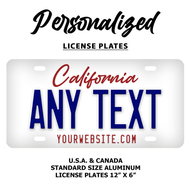 Replica License Plates Add Any Name Any Text All 50 States Available Personalized State License Plate Custom State License Plate