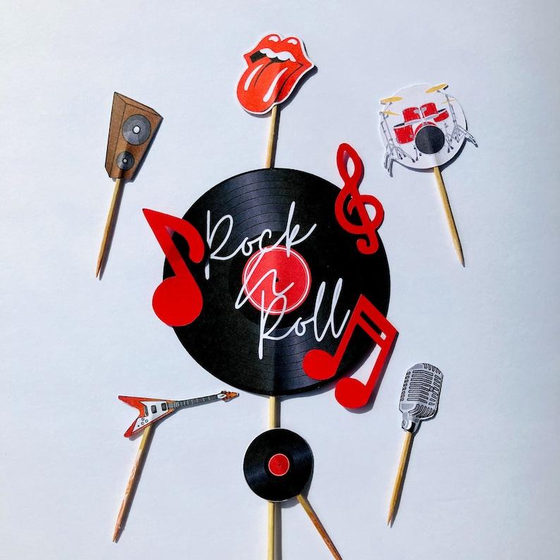 Retro rock cake topper Vinyl record cake topper Rock N Roll cake topper