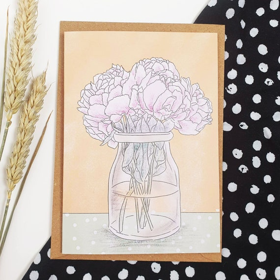 Flower Peony Vase A6 Recycled Paper Card