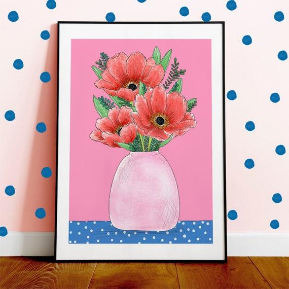 Poppy Vase A4 Print Illustration Full Colour