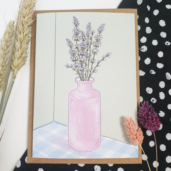 Lavender Wildflower Illustration A6 Recycled Paper Card