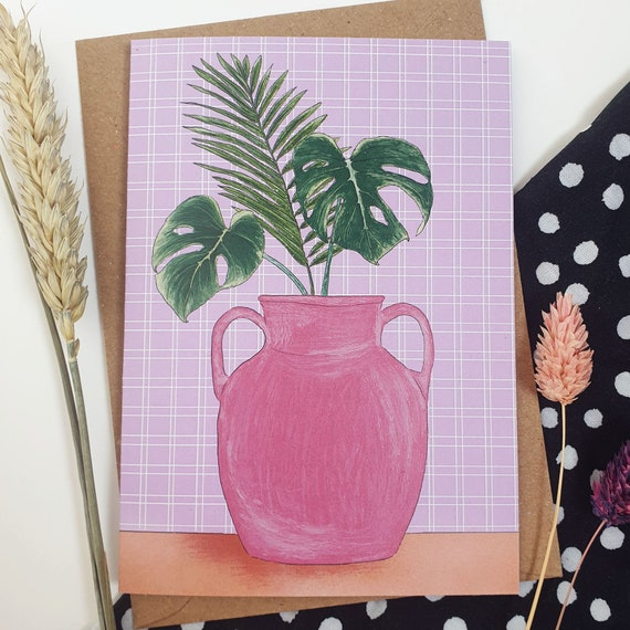 Monstera Leaf Plant Vase A6 Recycled Paper Card