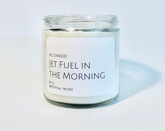 JET FUEL in the MORNING — Jet Fuel: Airplane Candle, Scented Candle, Pilot Decor