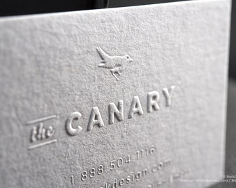 Minimalist blind emboss premium white business card - THE CANARY