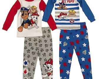 Boys Paw Patrol Novelty Pyjamas Paw Print Pyjama Sleepwear Pjs Age 1-6 Yrs