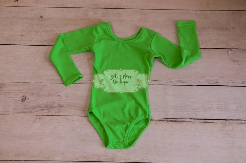 Girls Leotards Dance Body Suits Costume Girls Bright Green Ballet Leotard Long Sleeve Body Suit Ballerina FAST SHIPPING!! Gymnastic