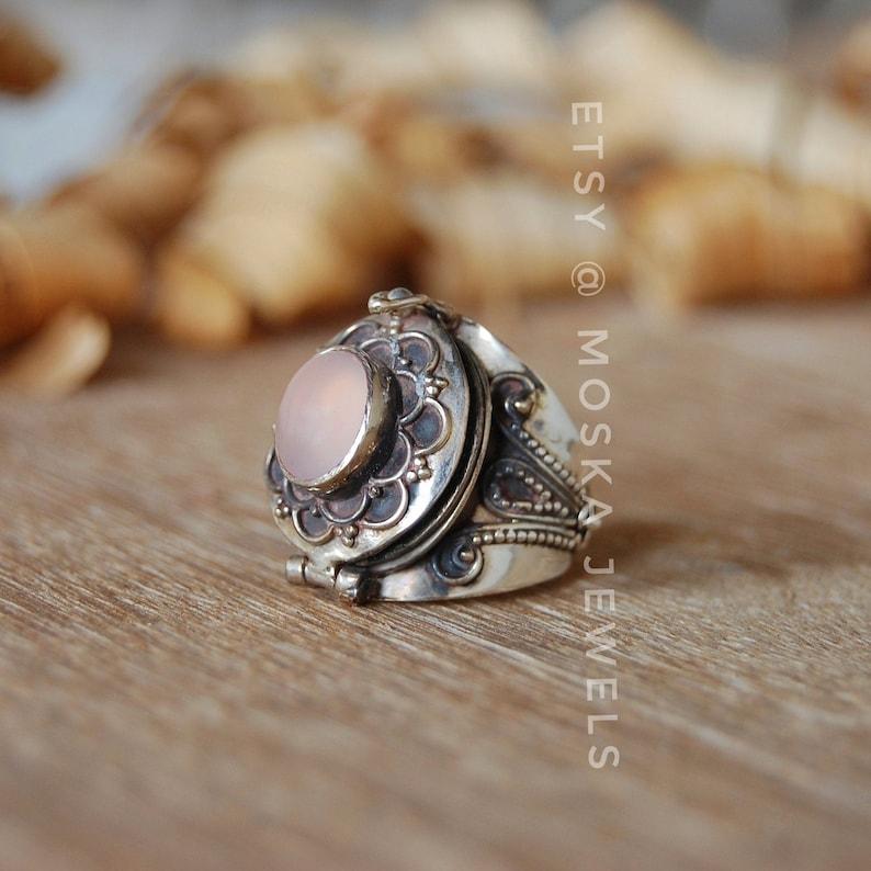 Rose Quartz Stylish Poison Ring Birthday Gifts Quartz Ring Pink Gemstone Ring Vintage Ring January Birthstone 925 Sterling Silver Ring