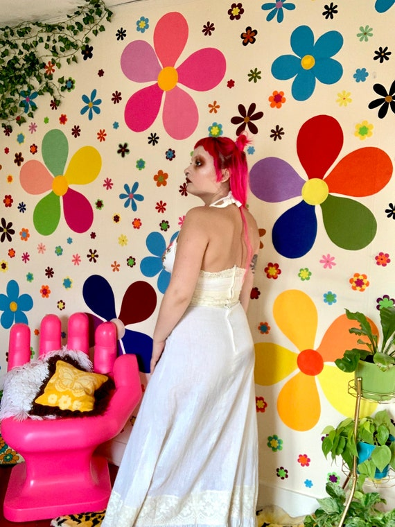 70s embroidered halter cream dress - image 4
