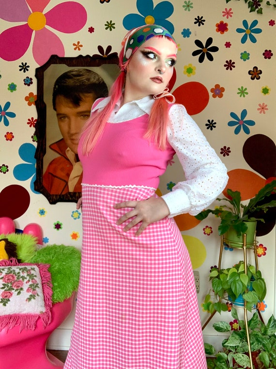 70s pink gingham picnic print dagger lace collar m