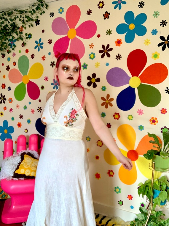 70s embroidered halter cream dress - image 2