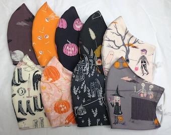Halloween/Autumn/Fall cotton face masks, REVERSIBLE, triple layered, all sizes, Oeko-tex, UK handmade.